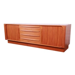 Bernhard Pedersen & Son Danish Modern Teak Tambour Door Sideboard Credenza For Sale