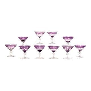 Set of Ten Sinclaire Handblown Amethyst Cut to Clear Martini, Cocktail Coupes For Sale