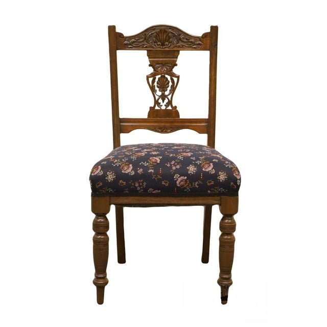 Brown 1940's Antique Jacobean Gothic Revival Walnut Dining Side Chair For Sale - Image 8 of 8