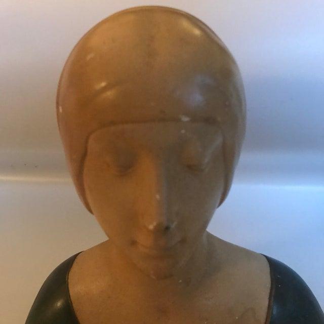 "Late 19th Century Vintage Donatello ""Unknown Woman"" Renaissance Revival Polychrome Plaster For Sale - Image 9 of 12"