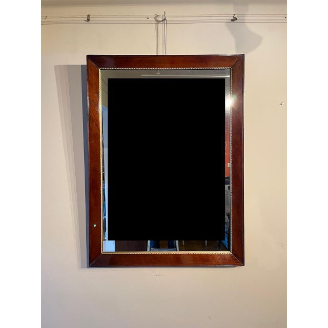 Wood Antique Gold Trim Mahogany Mirror For Sale - Image 7 of 7
