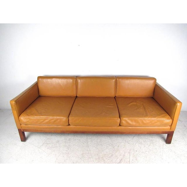 Børge Mogensen Scandinavian Modern Leather Sofa After Børge Mogensen For Sale - Image 4 of 8