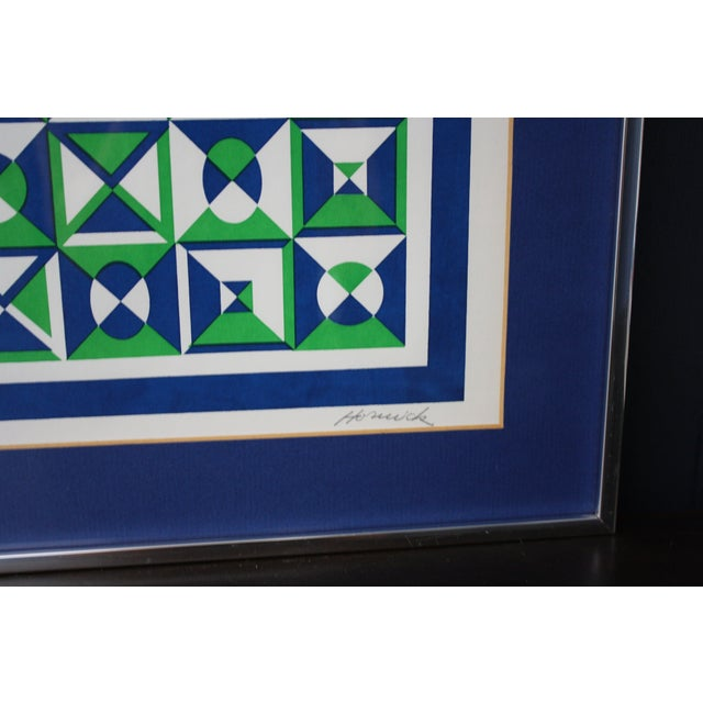 1970s Op Art Blue and Green Serigraphs - A Pair - Image 8 of 11