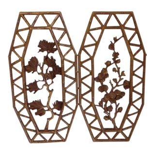 Mid-Century Modern Asian Style Floral Wall Hangings- a Pair For Sale