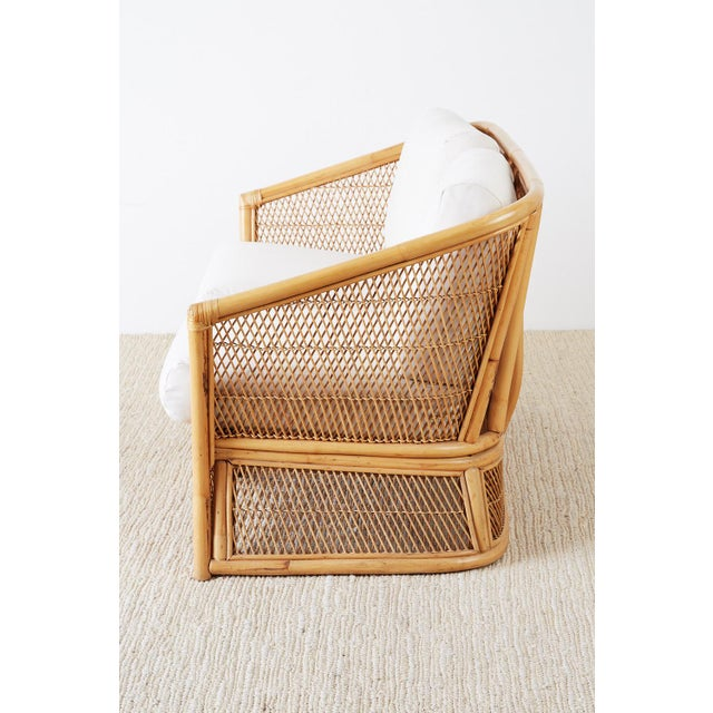 Bamboo Midcentury Bamboo Rattan Wicker Settee or Loveseat For Sale - Image 7 of 13