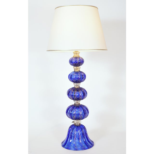 Art Deco Cobalt Blue With Gold Flecks Murano Glass Table Lamps - a Pair For Sale - Image 3 of 10