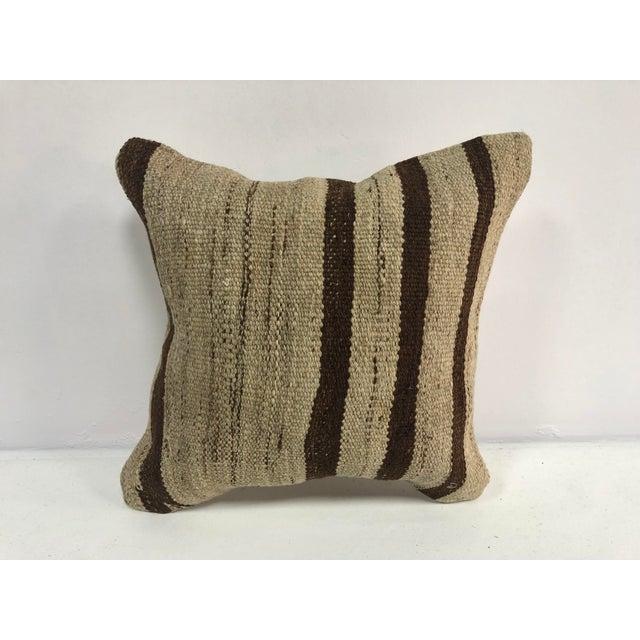 Turkish Stripe Design Anatolian Kilim Pillow For Sale In Phoenix - Image 6 of 6