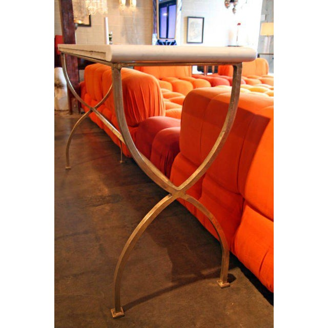 ma+39 custom Italian Iron Carerra Marble Top Console For Sale In Los Angeles - Image 6 of 8