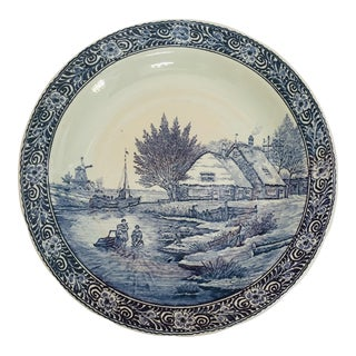 Large Dutch Delft Ceramic Plate Blue and White Charger For Sale