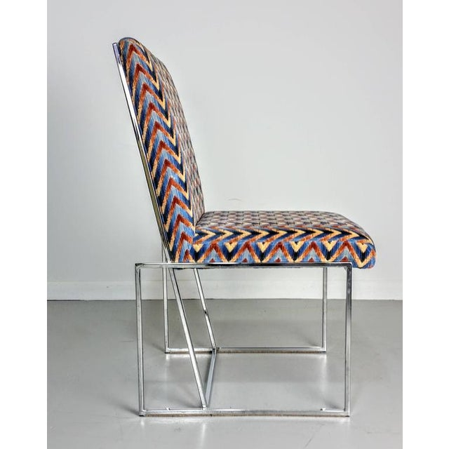 1970s Milo Baughman Style Chrome Dining Chairs - Set of 6 - Image 4 of 6
