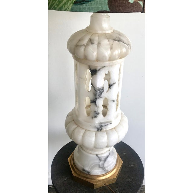 1950s Vintage Tall Alabaster Lamp With Carved Moroccan Design For Sale - Image 4 of 9