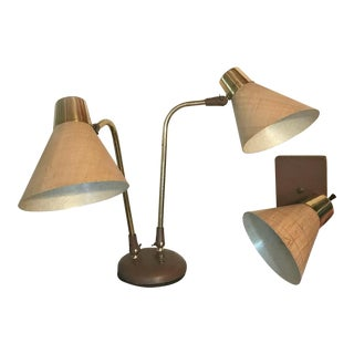 Mid-Century Modern Double-Headed Desk Lamp and Single Sconce - a Pair For Sale