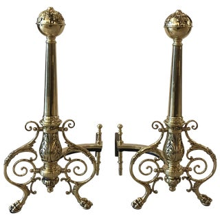 French Louis XV Polish Brass Andirons - a Pair For Sale