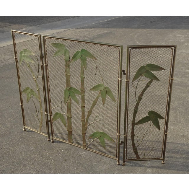 1970s Vintage French Country Black Fireplace Screen with Bamboo Leaves Limbs For Sale - Image 5 of 12