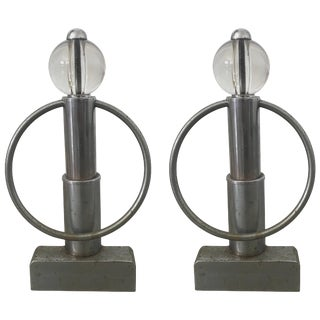 Art Deco Chrome and Glass Andirons - a Pair For Sale