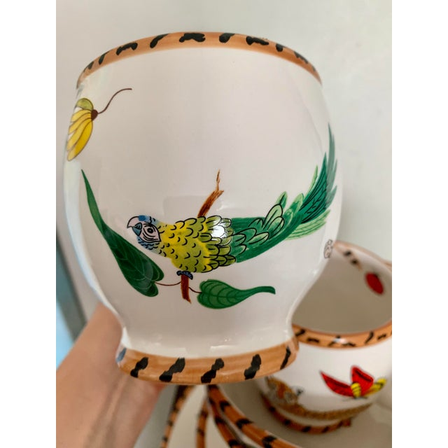 Blue Lynn Chase Jungle Jubilee Hand Painted Colorful Wildlife China Set - 12 Pieces For Sale - Image 8 of 11