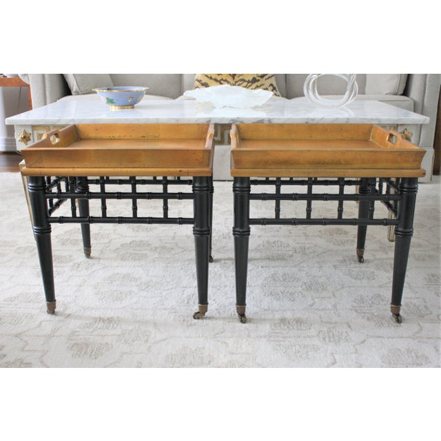 Pair of Mid-Century Faux Bamboo Gold Leaf Tray Top Tables For Sale - Image 13 of 13
