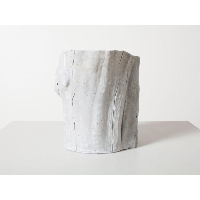 Traditional Light Grey Resin Tree Hollow Planter For Sale - Image 4 of 6