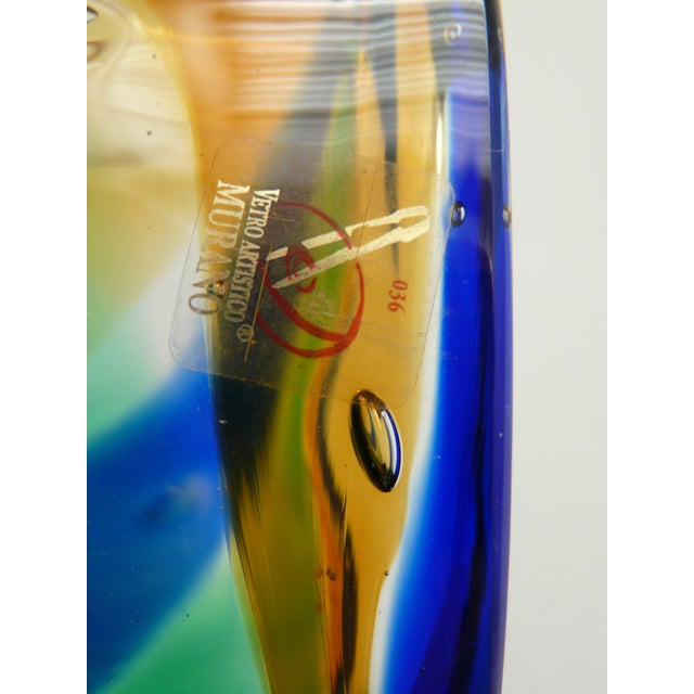 Mid 20th Century Murano Blue Amber Green Cylinder Vase by Camozzo For Sale - Image 5 of 7
