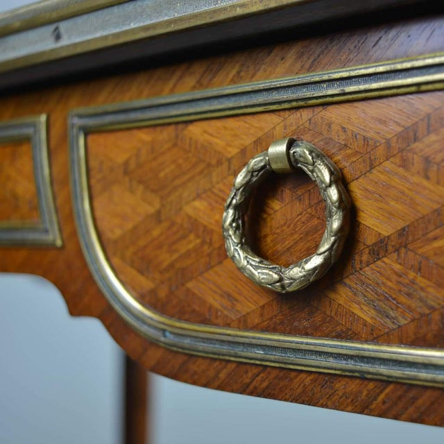 19th Century Antique Gilt Bronze Parquetry Inlaid Occasional Table Louis XVI Style For Sale - Image 5 of 7
