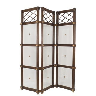 20th Century English Regency Style Mahogany Three-Fold Screen For Sale