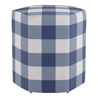 Hexagonal Ottoman in French Blue Check For Sale