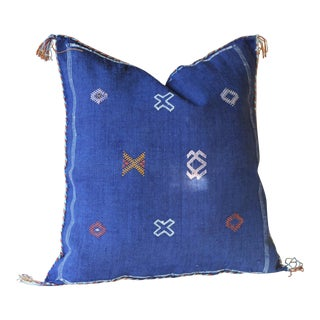 Complete Moroccan Dark Blue Cactus Sabra Silk Pillow