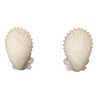 Shell Form Sconces in Alabaster - A Pair For Sale