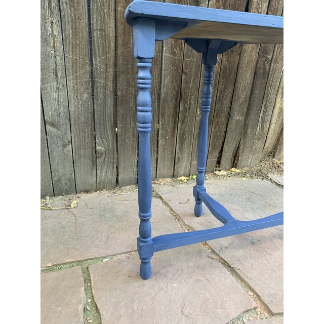 Blue Transitional Blue Chalk Paint Demi Lune Side Table With Turned Legs For Sale - Image 8 of 13