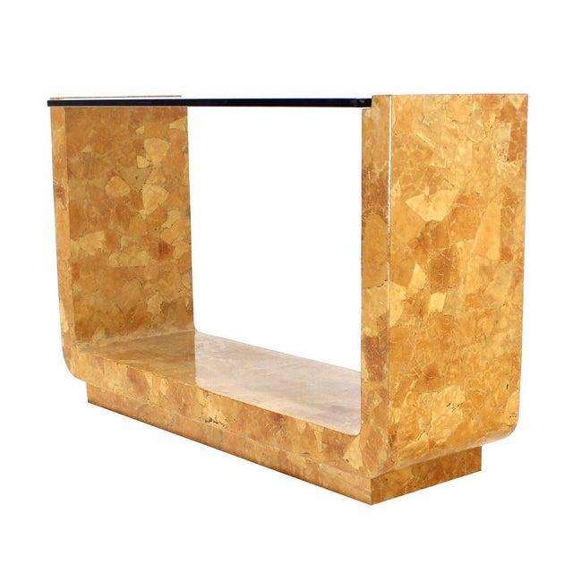 Mid Century modern vintage burlwood console sofa table.