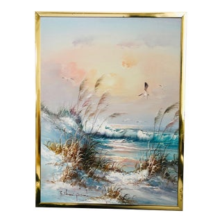Vintage 1980s Seashore Oil Painting by J Thompson For Sale