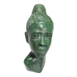 1970s Barnabus Fombe Verdite African Woman Bust For Sale