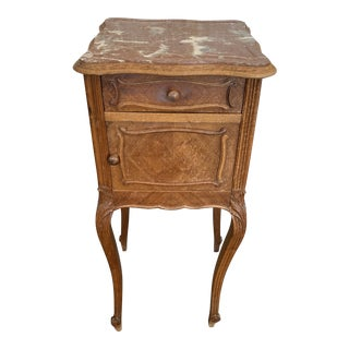 1920s Traditional Nightstand With Marble Top For Sale