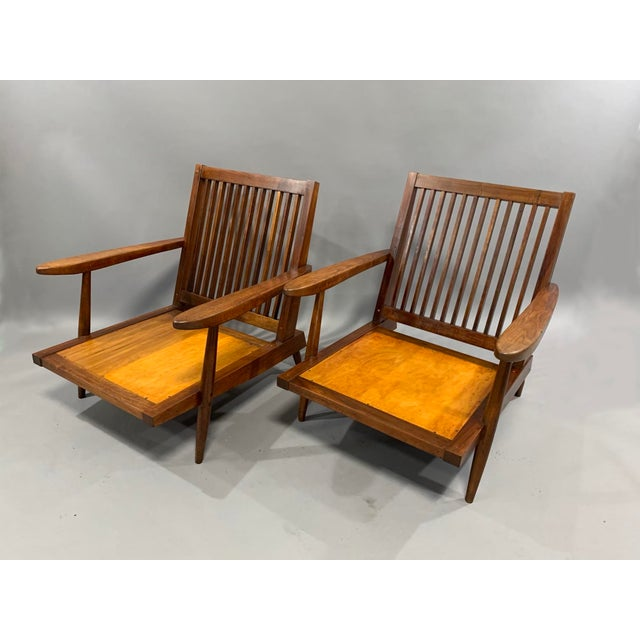 George Nakashima Pair of Spindle Back Lounge Chairs For Sale - Image 11 of 13