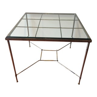 Glass Topped Iron & Brass Table