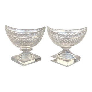 Cut Crystal Condiment Boats-A Pair For Sale