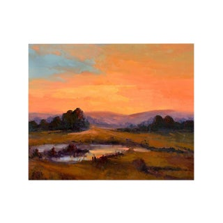 Orange Sunset Oil Painting For Sale