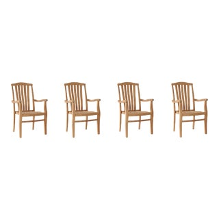 Pacifica Stacking Teak Outdoor Dining Armchair (Set of 4) For Sale