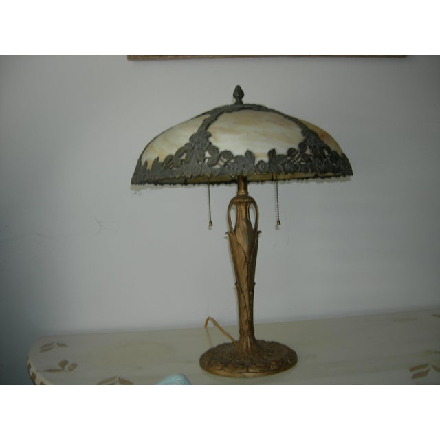 Art Nouveau EM&Co. Lamp With Slag Glass Shade For Sale In Greenville, SC - Image 6 of 6