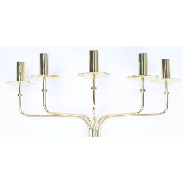 Neoclassical 1950's vintage TOMMI PARZINGER BRASS WALL CANDELABRA- a pair For Sale - Image 3 of 9