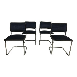 Late 20th Century Vintage Mohair and Chrome Chairs- Set of 4 For Sale
