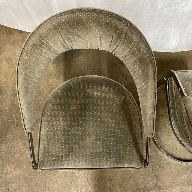 1960s Mid Century Modern Milo Baughman Style Chrome Cantilever Upholstered Chairs- Set of 3 For Sale - Image 5 of 5