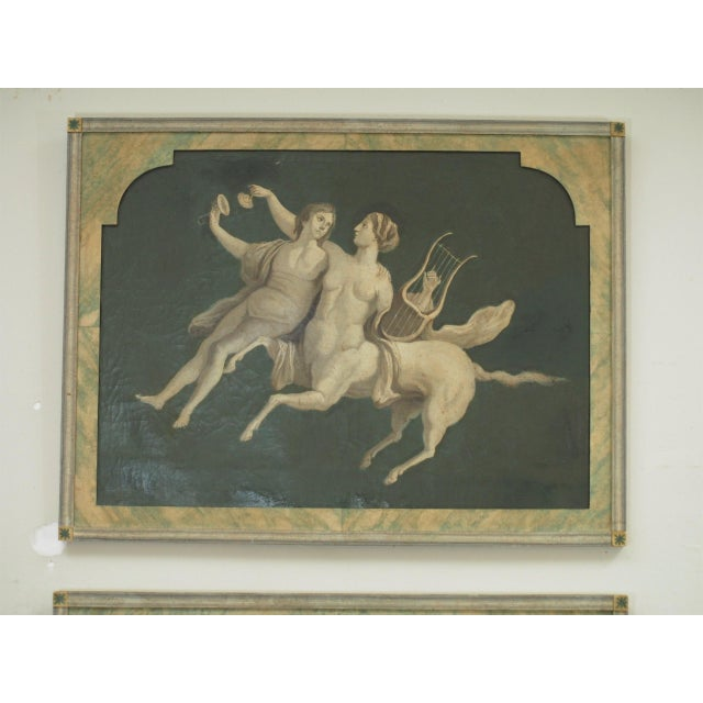 A pair of 19th century oil on canvas grisaille paintings of classical or mythological figures presented in faux marble...