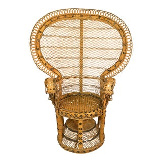 Bohemian Woven Rattan Peacock Chair For Sale