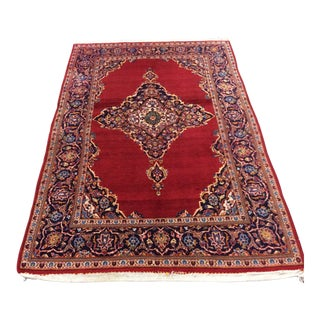 Persian Hand Made Kashan Red Wool Rug - 4′7″ × 7′4″