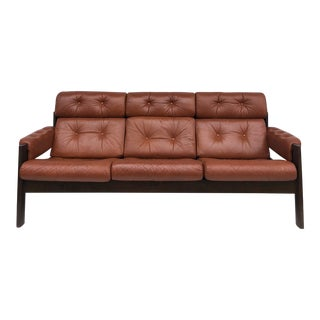 Mid Century Leather & Teak Amigo Sofa by Ekornes of Norway For Sale