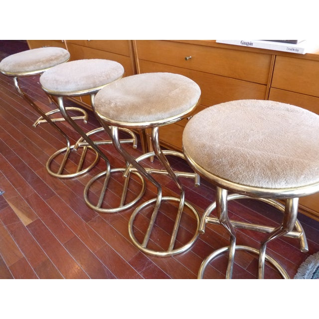 Brass Plated Cantilevered Bar Stools - Set of 4 - Image 4 of 7