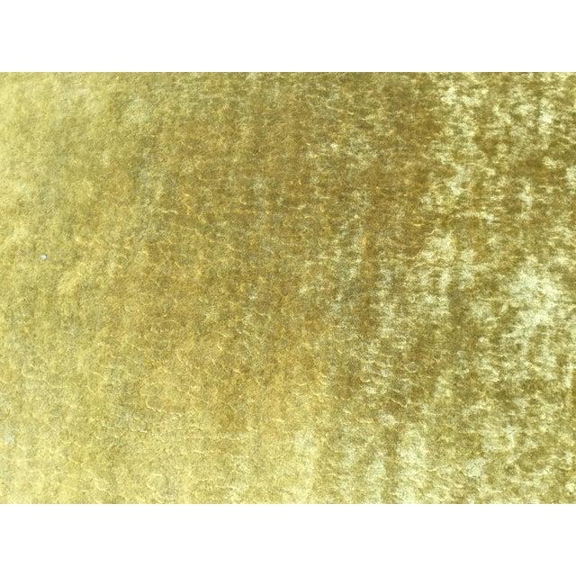 Custom Chartreuse Velvet Upholstered Bench - Image 5 of 6
