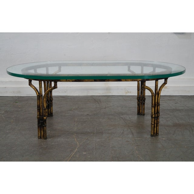 Brass Faux Bamboo Coffee Table: Vintage Hollywood Regency Faux Bamboo Gilt Metal Coffee