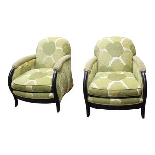 1930s Larry Laslo Streamline Deco Club Chairs- A Pair For Sale